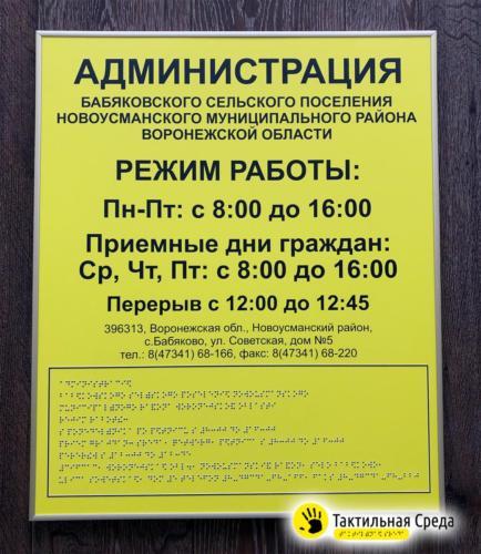 вывеска-режим-работы-со-шрифтом-брайля-администрация-бабяковского-сельского-поселения-воронеж