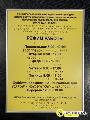 тактильная-вывеска-МКУК-ЦДНТиК-БМР-Воронежской-области